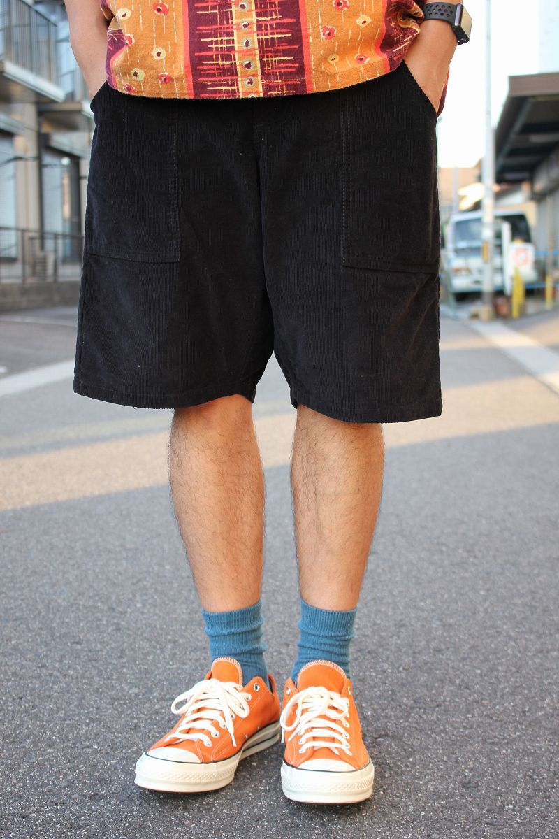 USED!!! NO BRAND / CORDUROY SHORTS (MADE IN U.S.A.) / black