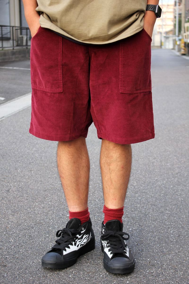 USED!!! NO BRAND / CORDUROY SHORTS (MADE IN U.S.A.) / burgundy