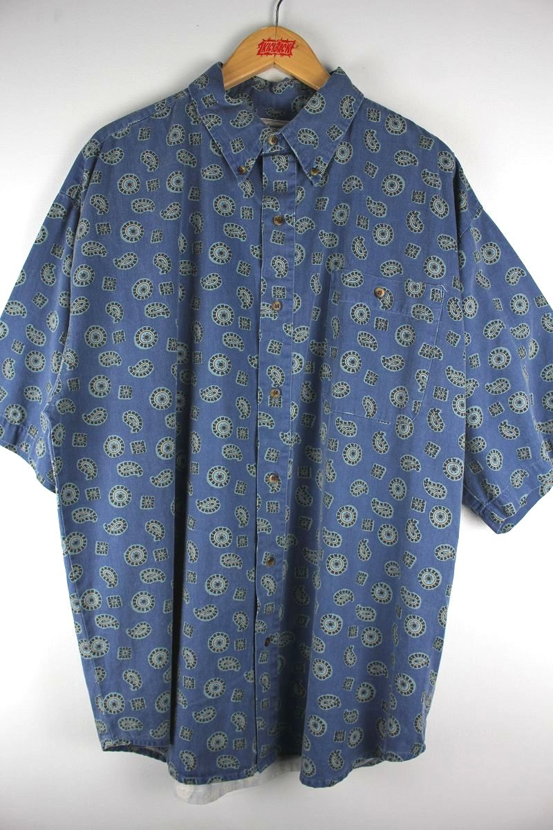 "USED!!! BUGLE BOY COMPANY / ""PAISLEY"" BUTTON-DOWN SHIRTS (90'S) / washed navy"