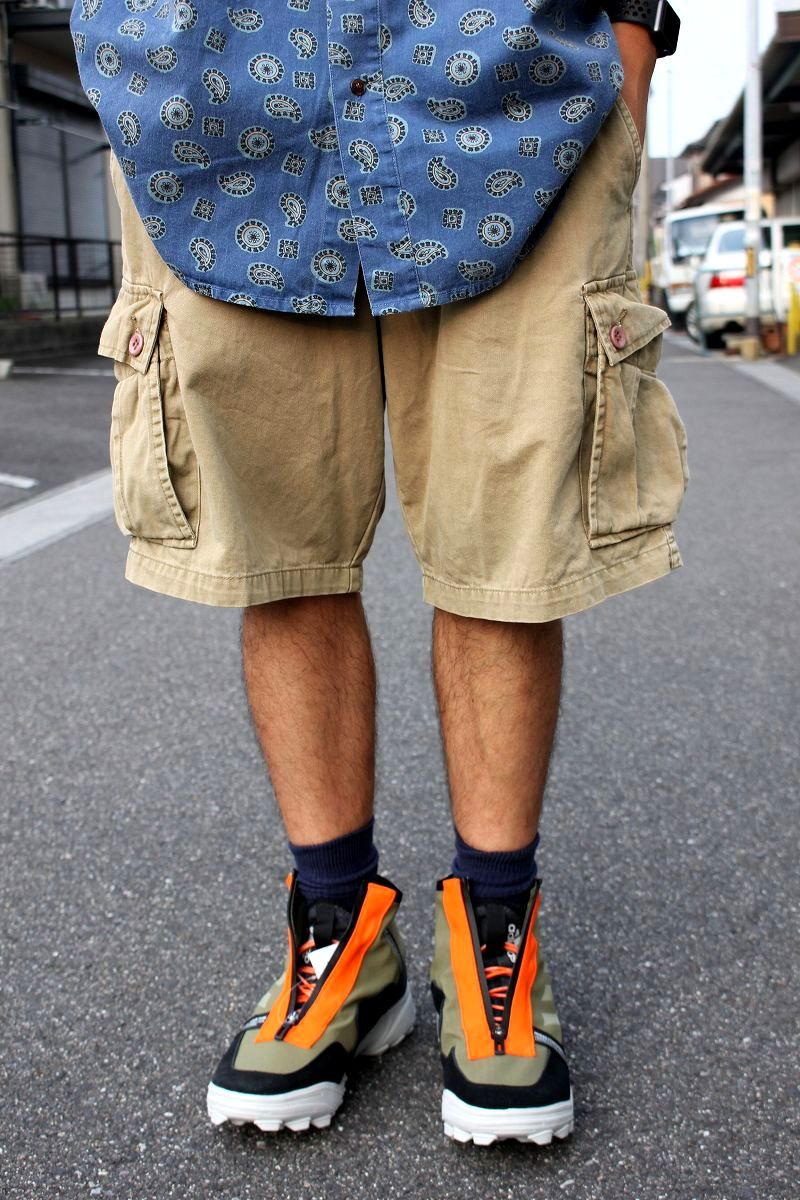 USED!!! STUSSY / CARGO SHORTS (90'S) / washed khaki