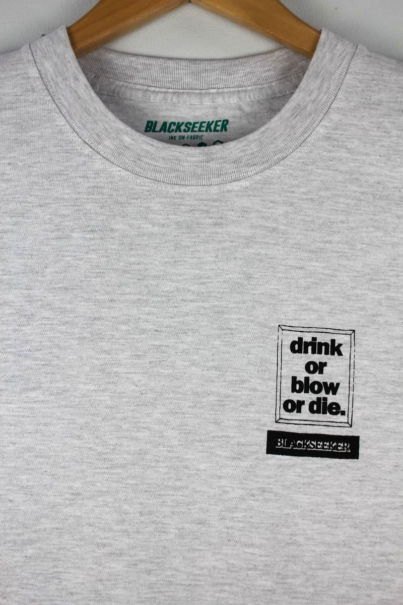 "BLACKSEEKER / ""DRINK OR BLOW OR DIE"" Tee / light heather grey"