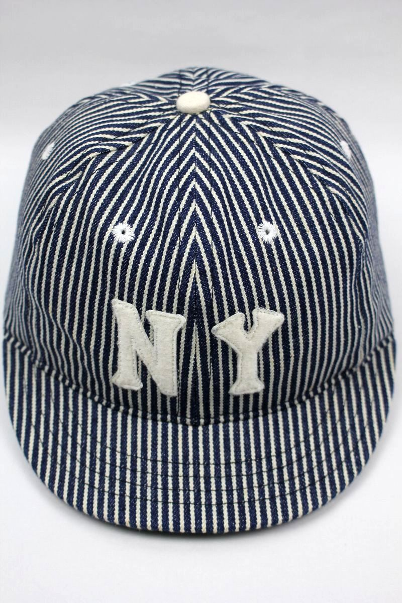 USED!!! EBBETS FIELD / HICKORY STRIPED SHORT BRIM FITTED CAP / navy×white