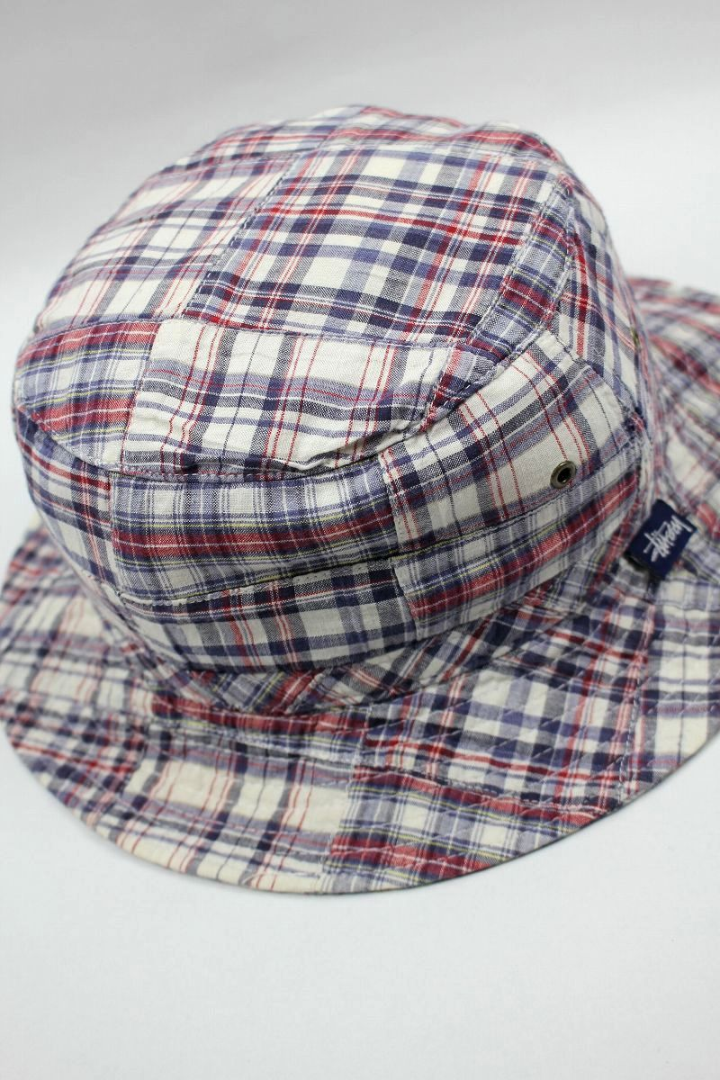 USED!!! STUSSY / PLAID PATCHWORK BUCKET HAT (90'S)