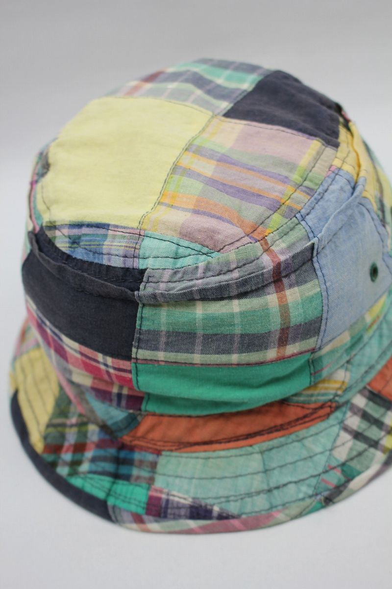 USED!!! NEWYORK HAT / PLAID PATCHWORK BUCKET HAT (90'S)