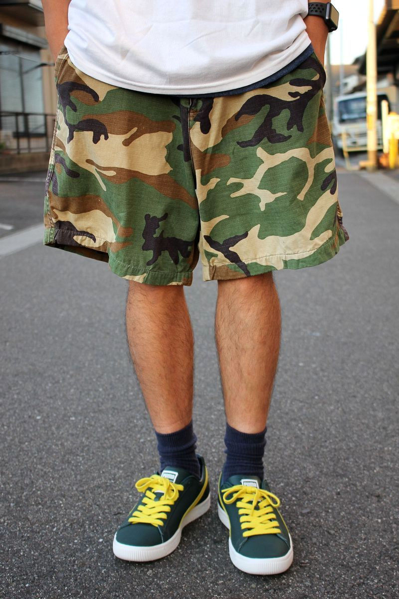 USED!!! STUSSY OUTDOOR / RIP-STOP CAMO SHORTS (90'S) / woodland camo