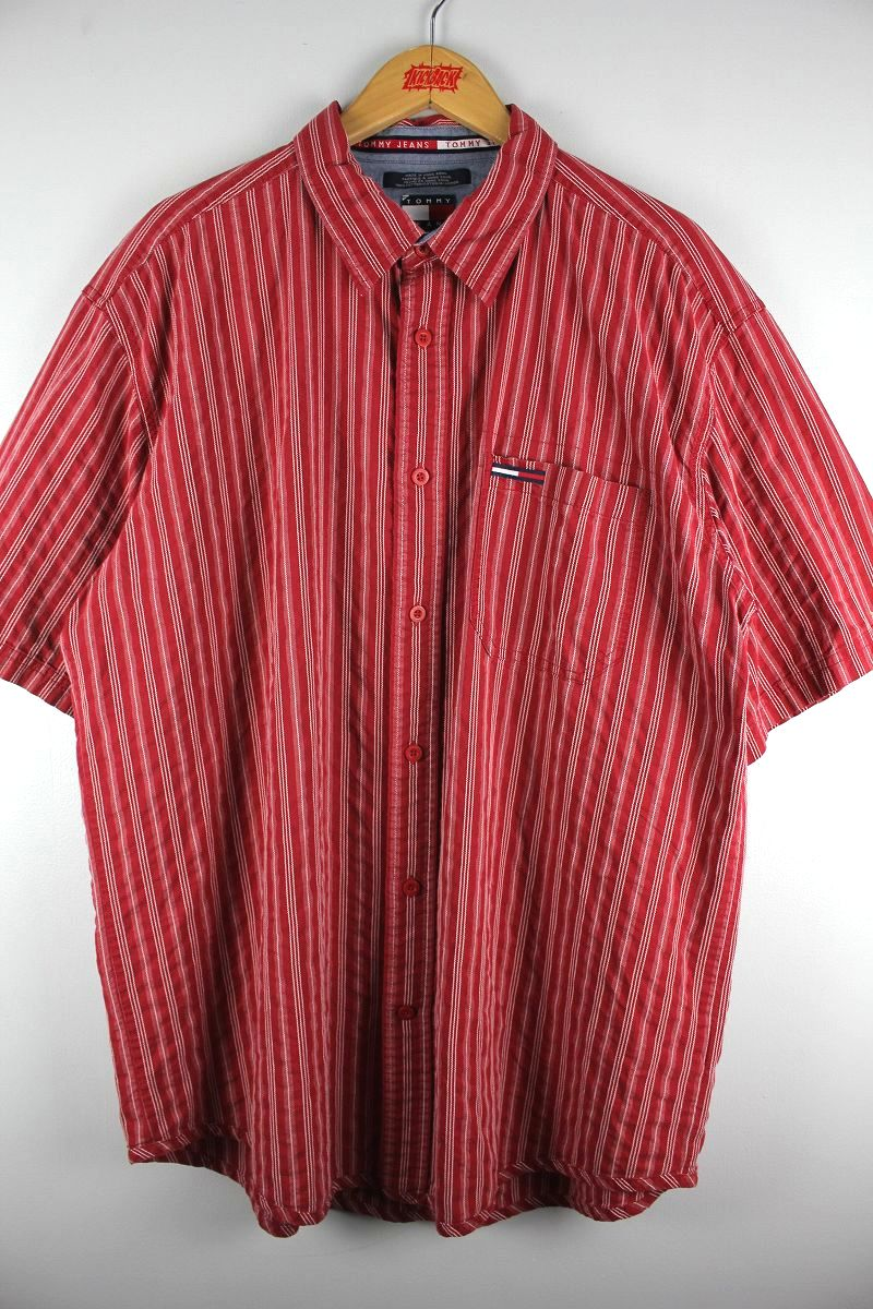 USED!!! TOMMY HILFIGER / STRIPED SS SHIRTS (90'S) / red×white
