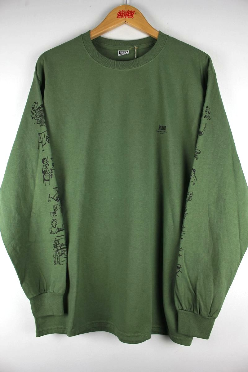 "RULER / ""12OZ."" LS Tee / army green"