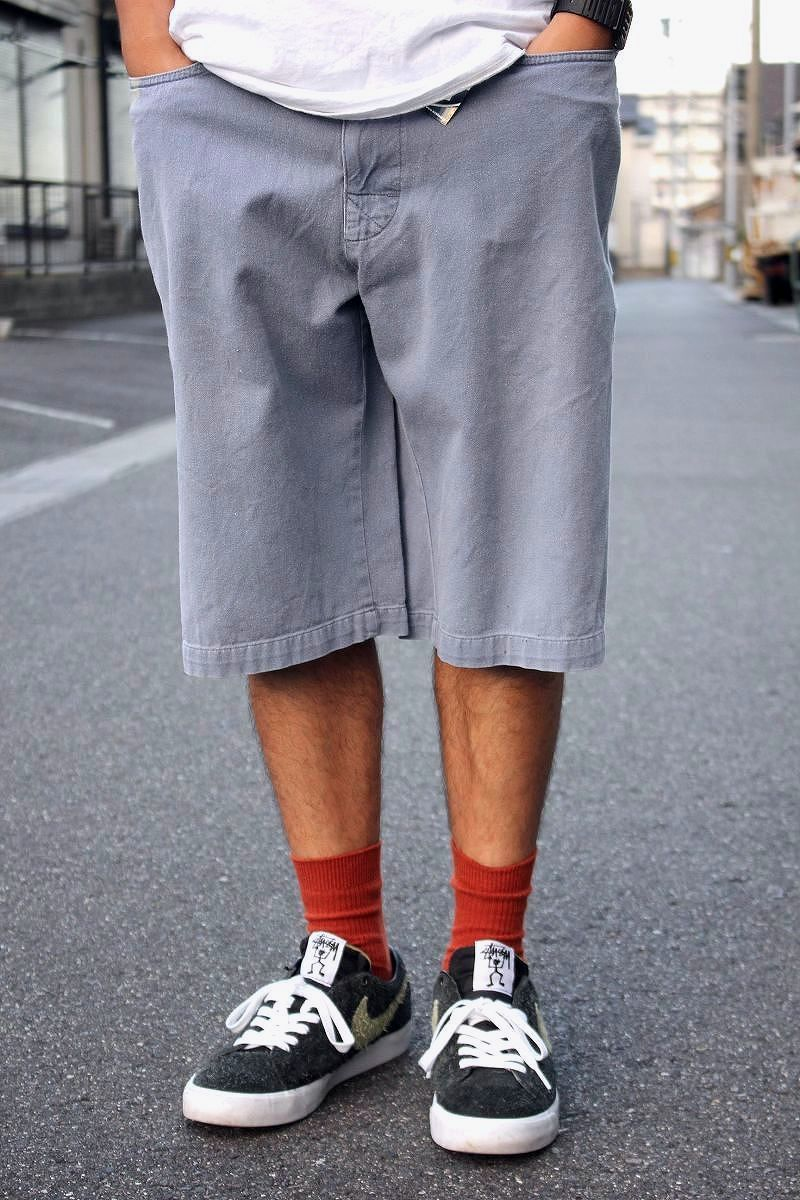 USED!!! STUSSY / SKATER SHORTS (80'S) / washed charcoal blue