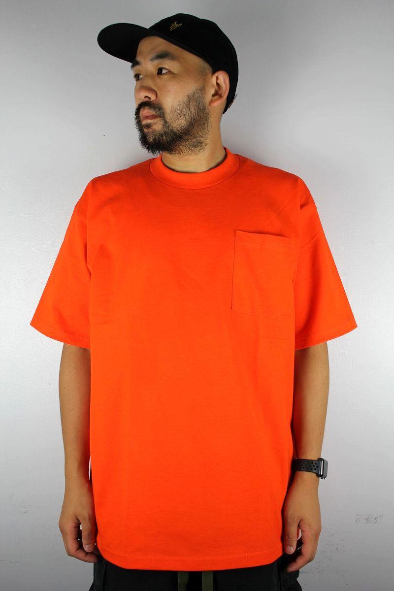 PRO CLUB / HEAVY WEIGHT CREWNECK POCKET Tee / orange