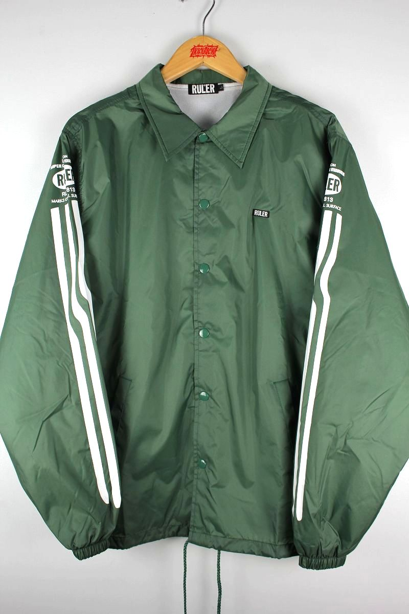 "RULER / ""MARKER LINE"" COACH JACKET / green"