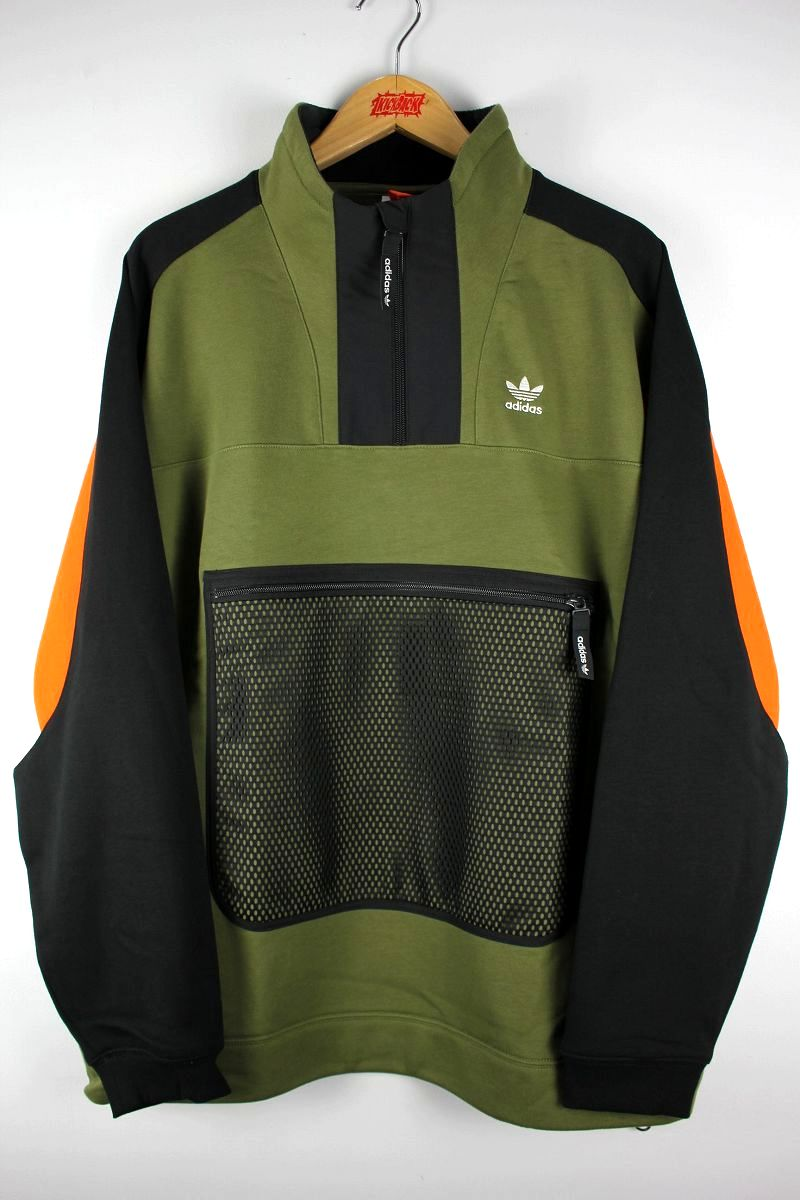 adidas ORIGINALS / 3 QUARTER ZIP SWEAT / olive×black×orange×white