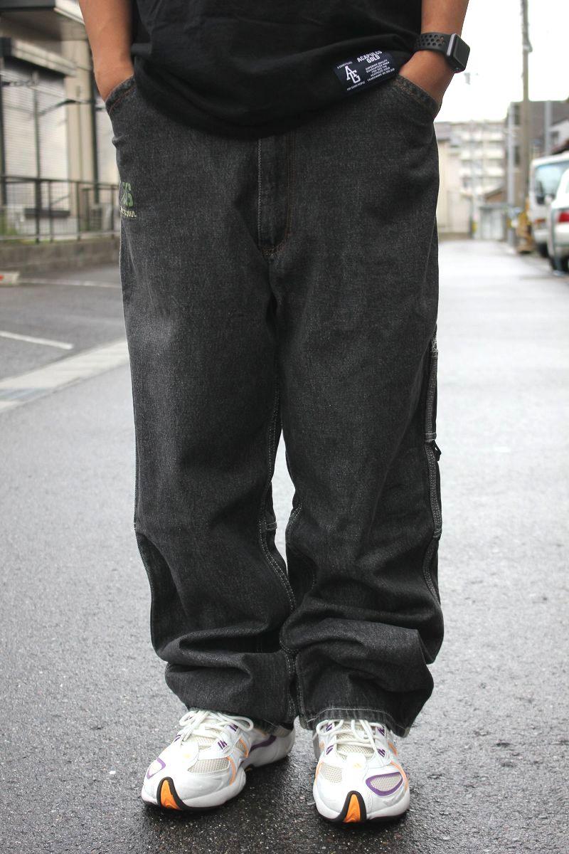 USED!!! TRIPLE FIVE SOUL / BUGGY DENIM PANTS (90'S) / dark stone-wash black indigo