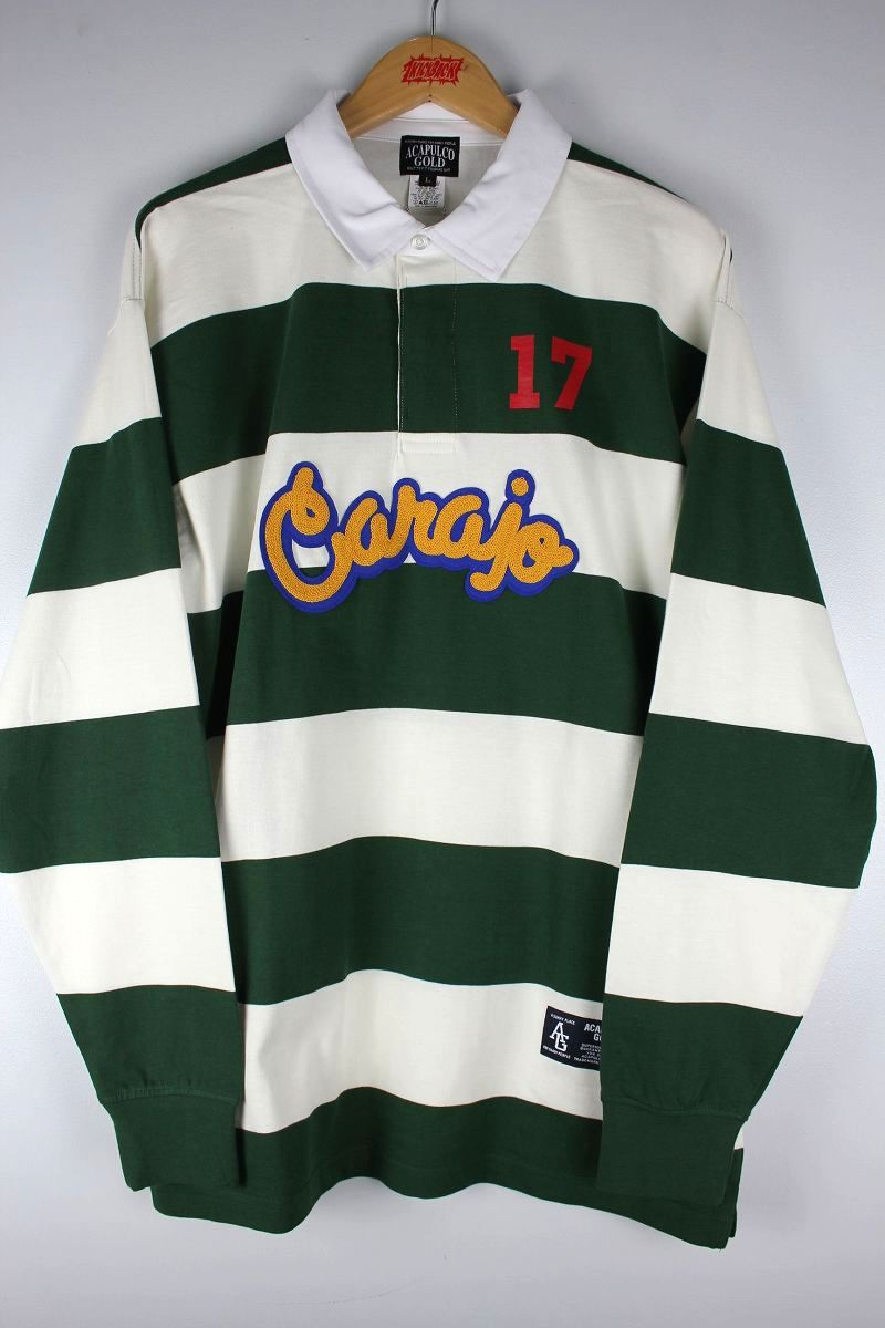 "ACAPULCO GOLD / ""CARAJO"" RUGBY SHIRTS / green×white"