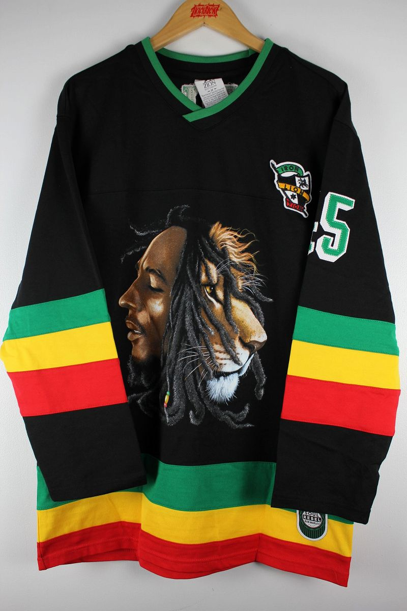 "BOB MARLEY / ""MARLEY"" HOCKEY SHIRTS / black×green×yellow×red"