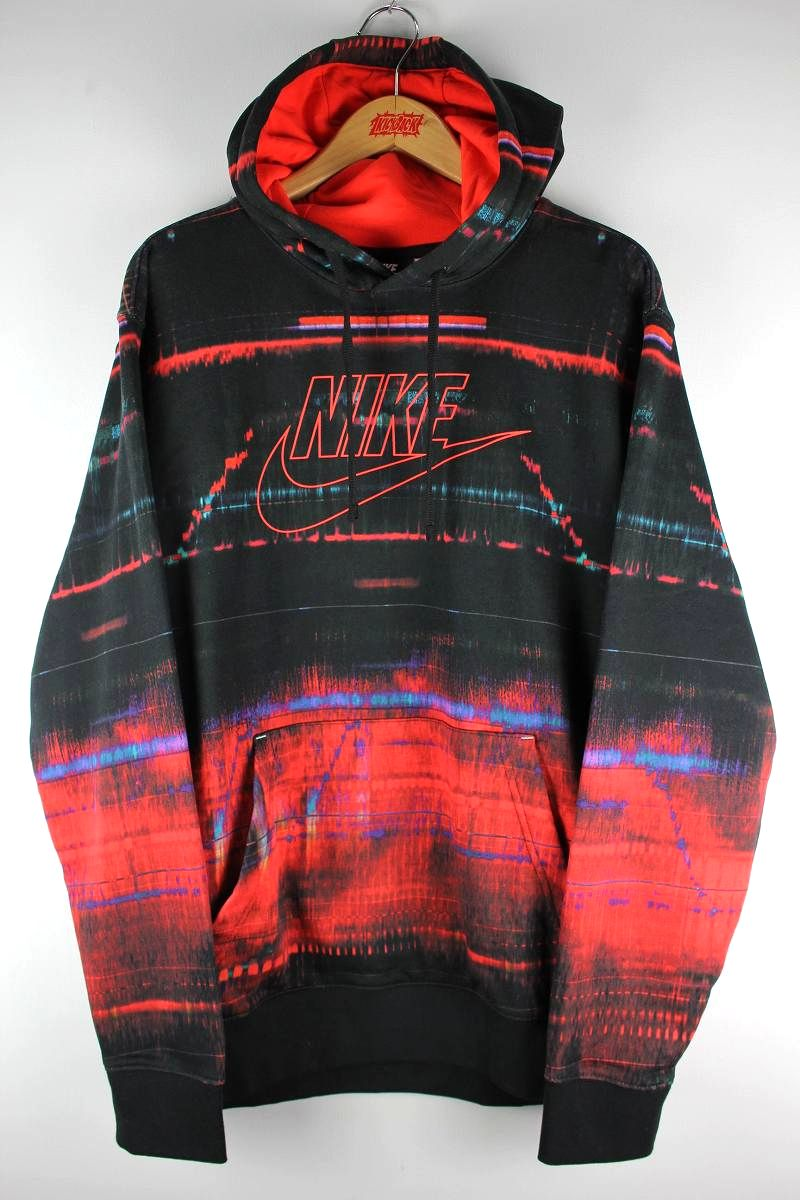 NIKE / ALL-OVER PRINT PULLOVER SWEAT HOODIE / black