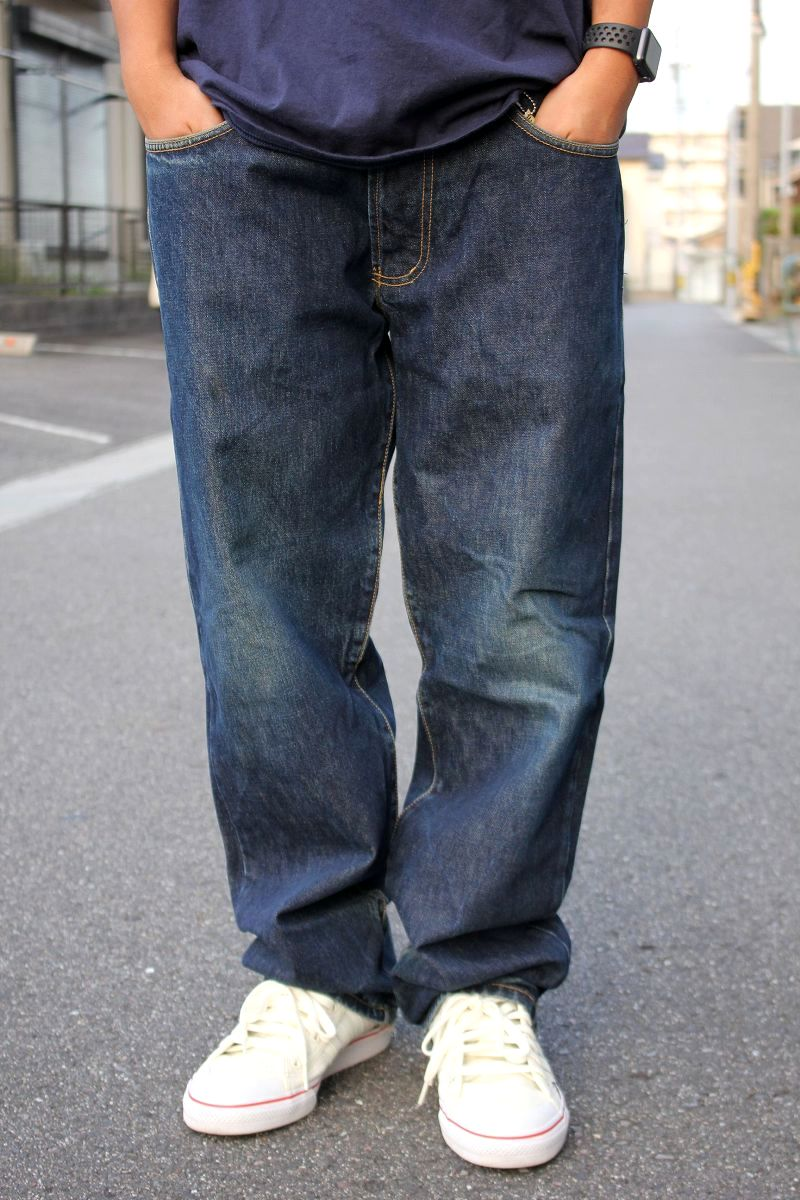 USED!!! STUSSY / RELAX-FIT DENIM PANTS (90'S) / vintage-wash indigo