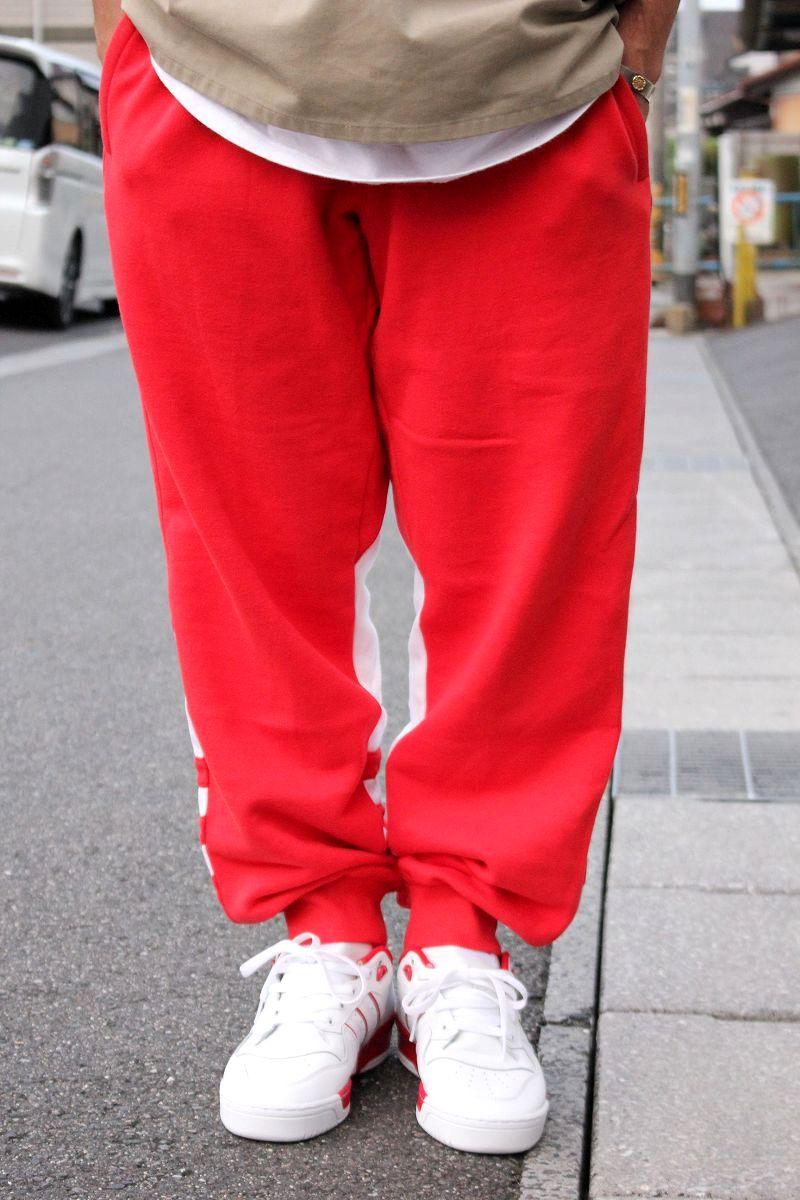 adidas ORIGINALS / BIG TREFOIL SWEAT PANTS / red×white