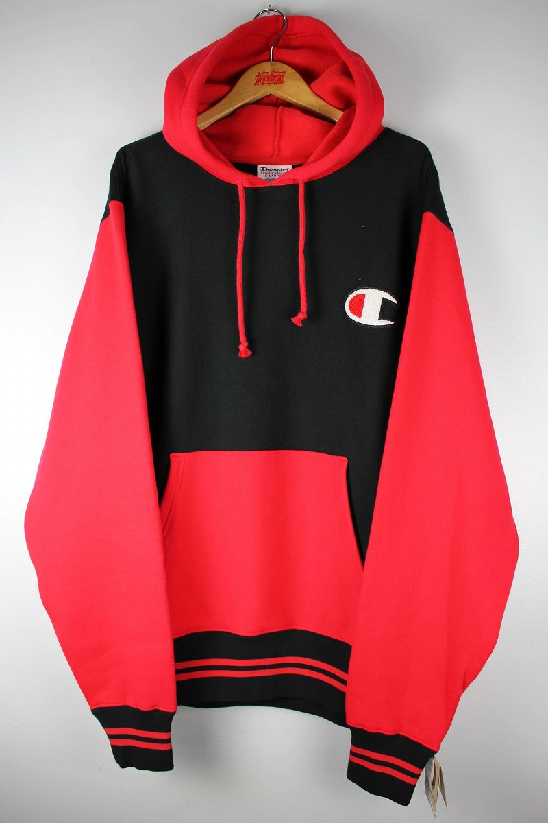 """CHAMPION / """"REVERSE WEAVE"""" 2-TONE PULLOVER SWEAT HOODIE / red×black"""
