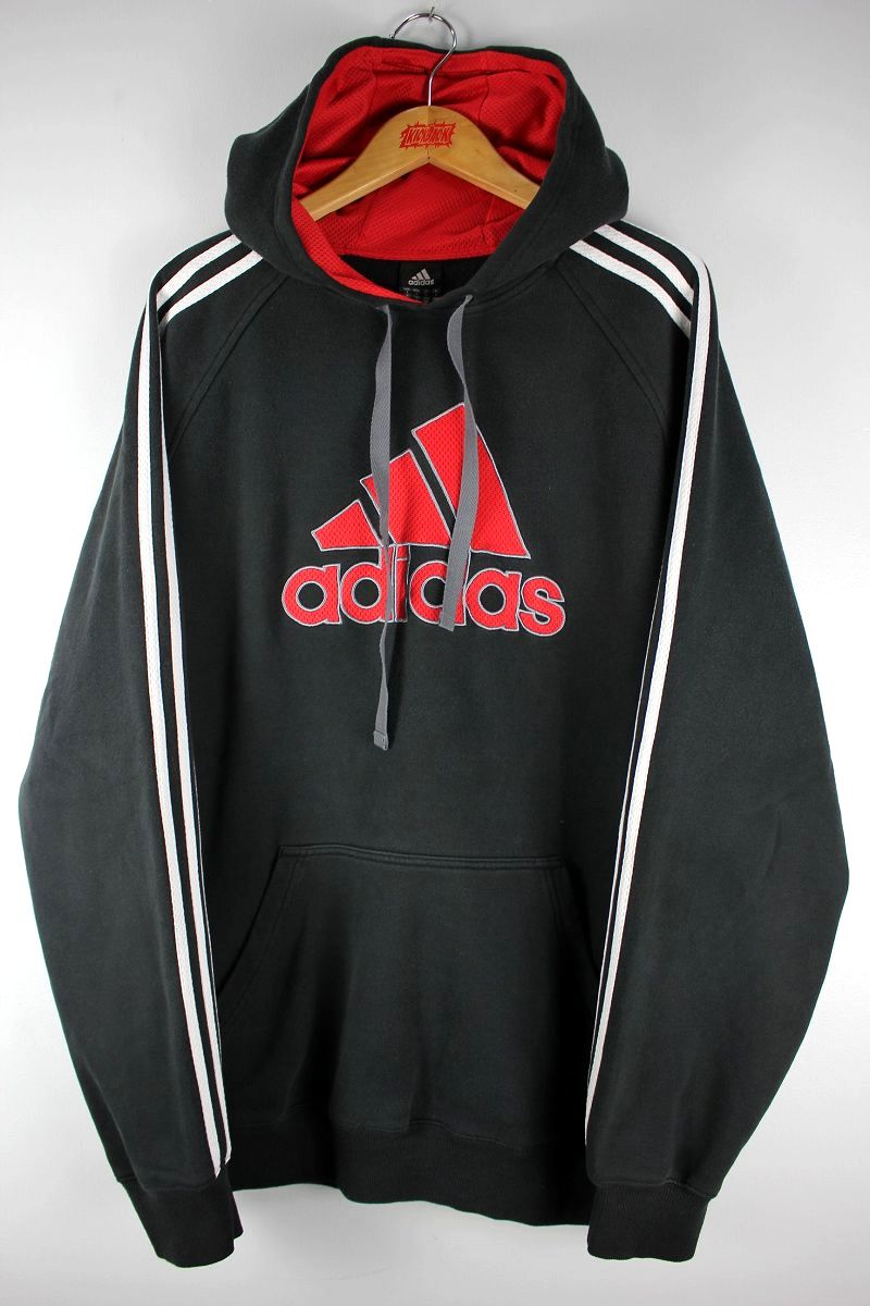 USED!!! adidas / PERFORMANCE LOGO 3-STRIPES SWEAT HOODIE (00'S) / black×white×red