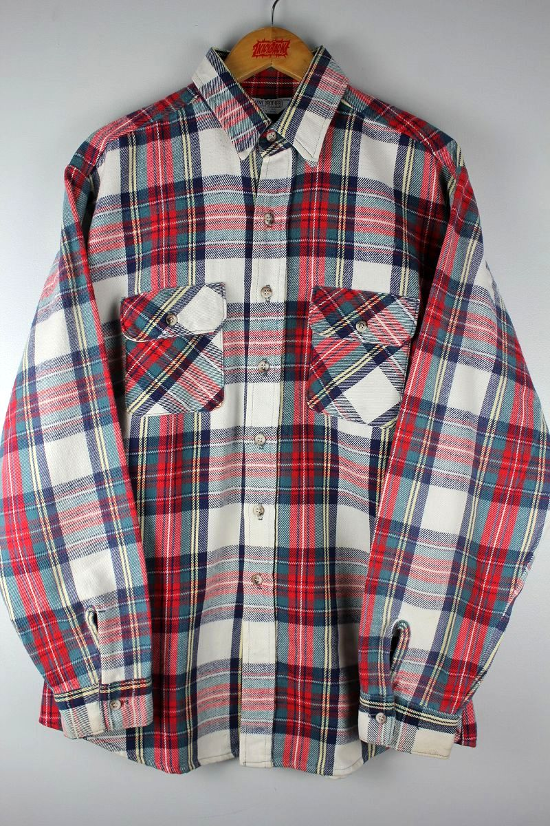 USED!!! FIVE BROTHER / PLAID FLANNEL SHIRTS (80'S)