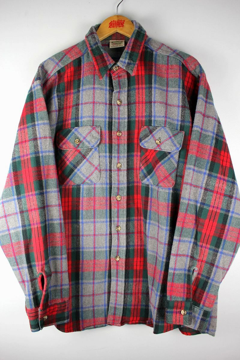 USED!!! FIVE BROTHER / PLAID FLANNEL SHIRTS (90'S)