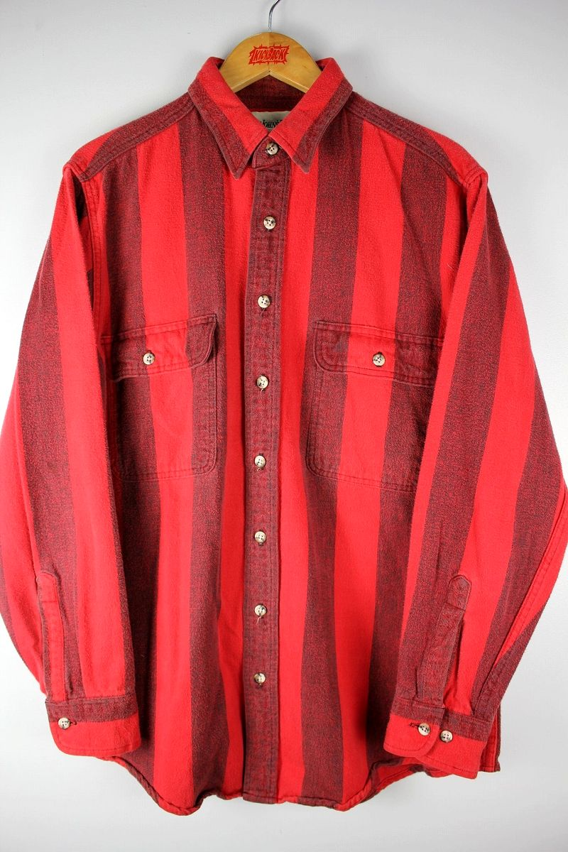 USED!!! ST. JHON'S BAY / STRIPED FLANNEL SHIRTS (90'S)