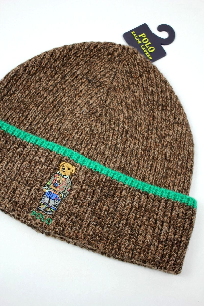 "POLO RALPH LAUREN / ""HIKING BEAR"" CUFF BEANIE"