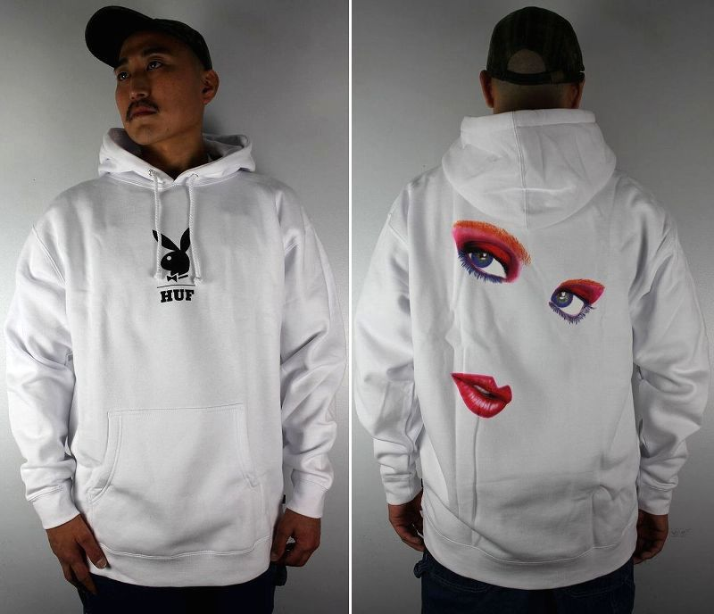 """HUF×PLAYBOY / """"MAY88 COVER"""" PULLOVER SWEAT HOODIE / white"""