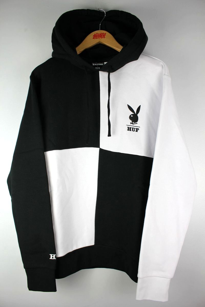 HUF×PLAYBOY / COLOR BLOCK PULLOVER SWEAT HOODIE / black×white