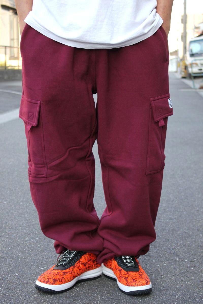 PRO CLUB / HEAVY WEIGHT SWEAT CARGO PANTS / burgundy