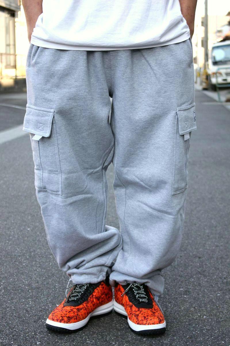 PRO CLUB / HEAVY WEIGHT SWEAT CARGO PANTS / heather grey
