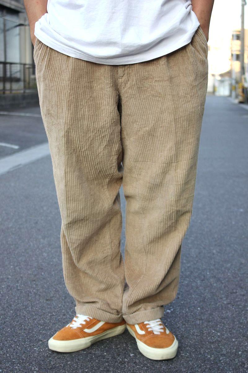 USED!!! BILL BLASS / TWO-TUCK WIDE WALE CORDUROY PANTS (90'S) / beige