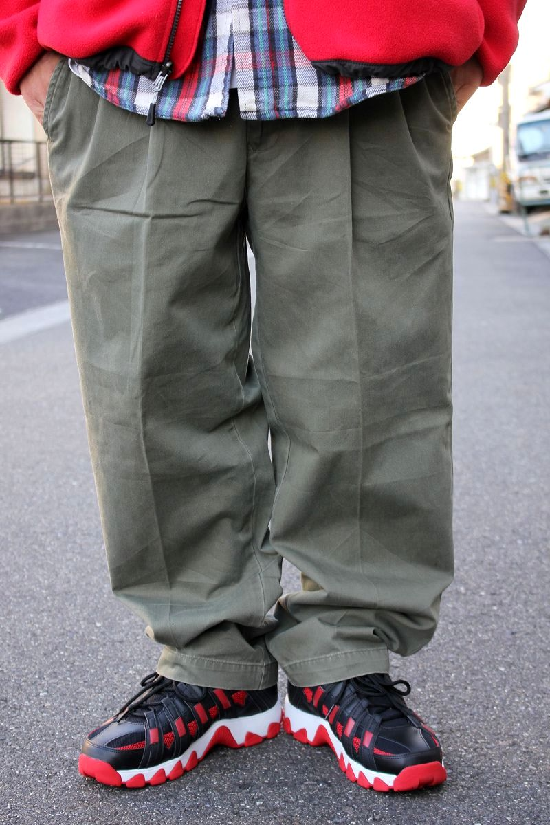 USED!!! TOMMY HILFIGER / TWO-TUCK CHINO WORK PANTS (90'S) / washed olive
