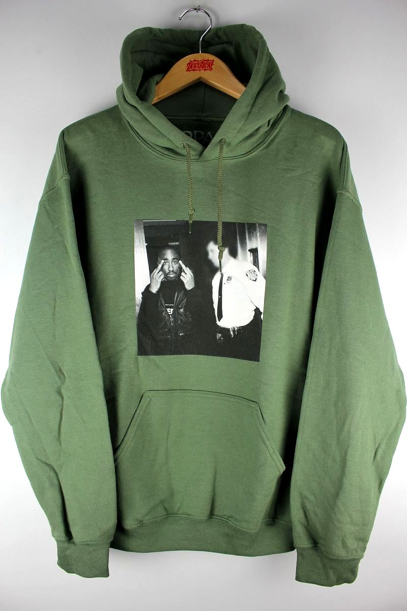 "TUPAC (2PAC) / ""FINGER PHOTO"" PULLOVER SWEAT HOODIE / olive"