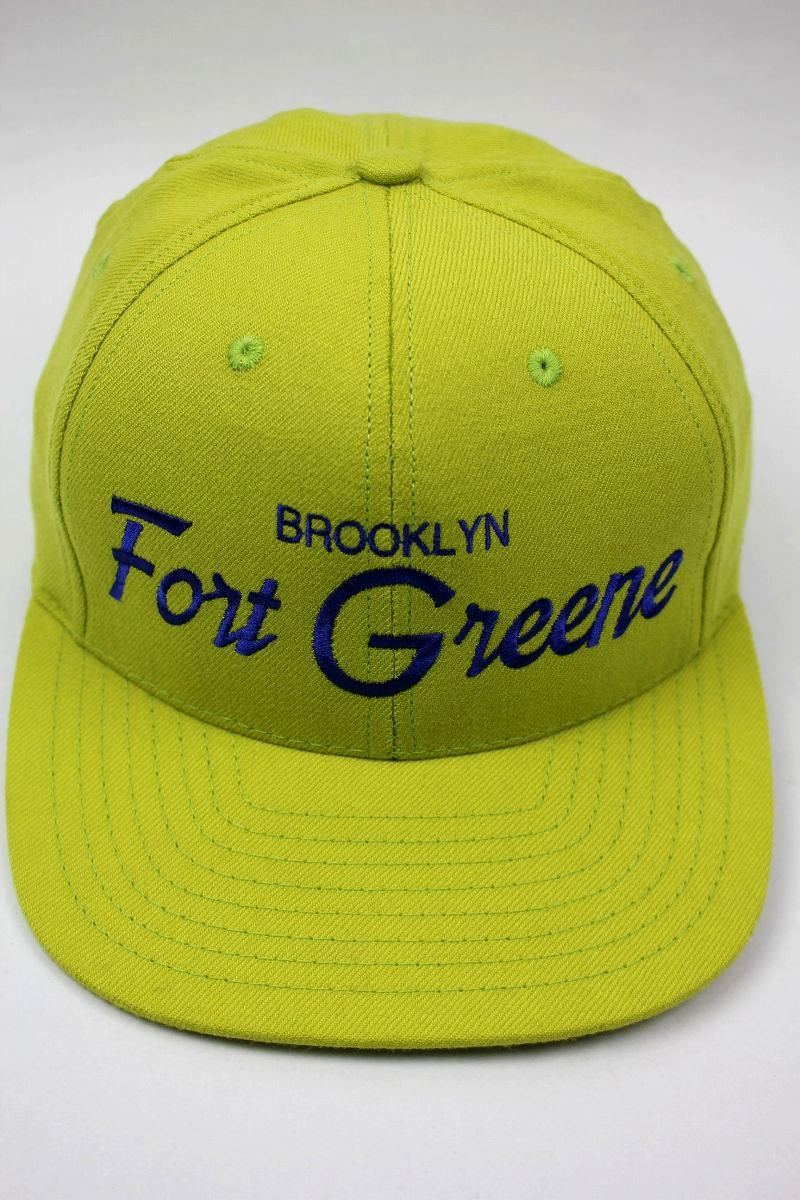 "HOOD HAT / ""FORT GREENE NY"" SNAPBACK CAP / lime green"