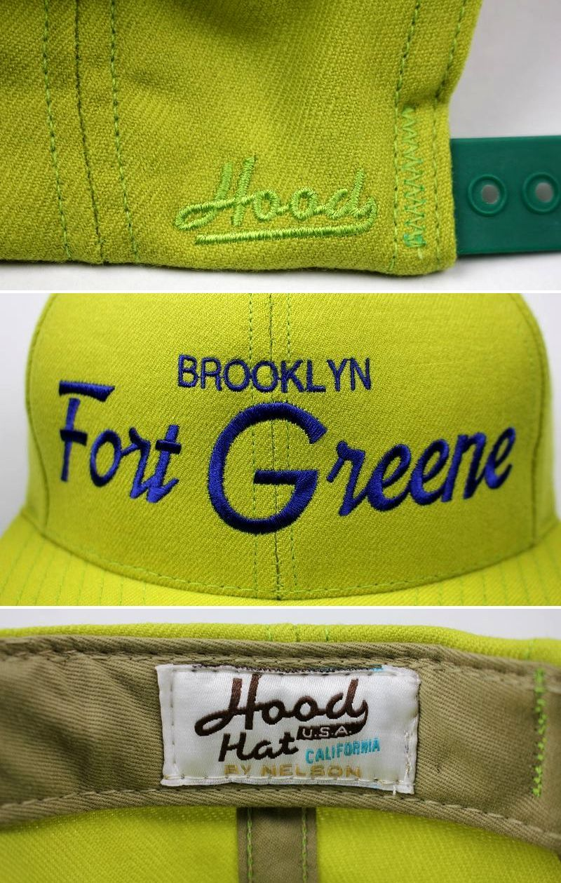 "HOOD HAT / ""FORT GREENE NY"" SNAPBACK CAP / lime green"