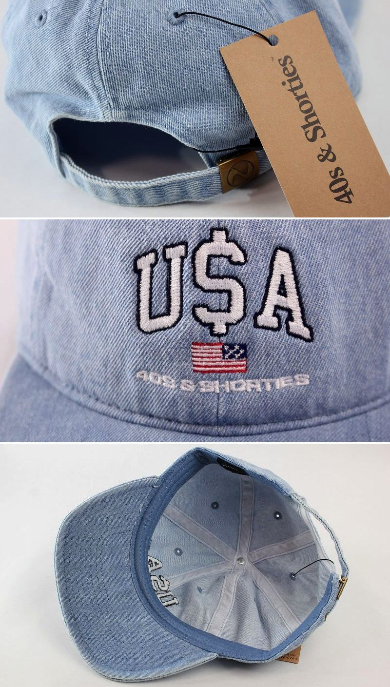 "40S & SHORTIES / ""PAY OUT"" DENIM STRAPBACK CAP / stone wash indigo"
