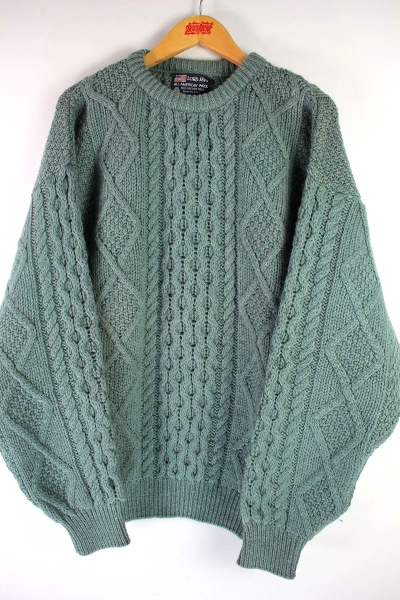 USED!!! LORD JEFF / CABLE KNIT WOOL SWEATER (90'S) / moss green