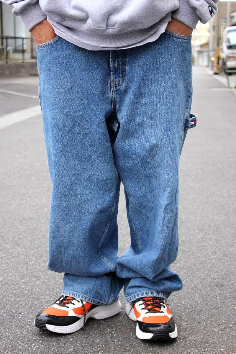 USED!!! TOMMY HILFIGER / DENIM PAINTER PANTS (90'S) / stone wash indigo