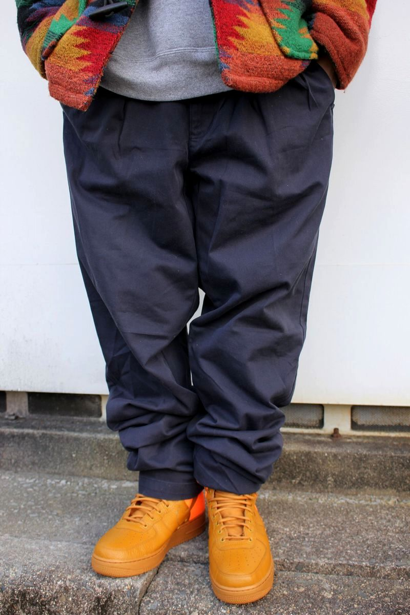 USED!!! POLO RALPH LAUREN / TWO-TUCK CHINO WORK PANTS (90'S) / navy