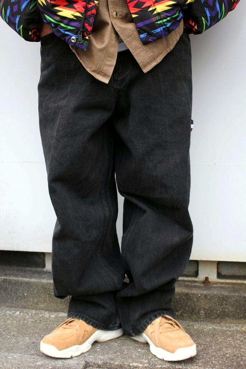 USED!!! TOMMY HILFIGER / DENIM PAINTER PANTS (90'S) / black