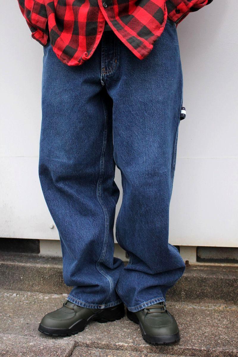 USED!!! TOMMY HILFIGER / DENIM PAINTER PANTS (90'S) / dark stone wash indigo