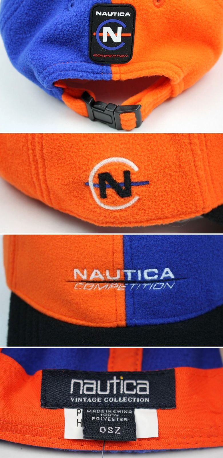 NAUTICA / VINTAGE FLEECE CAP / blue×orange×black