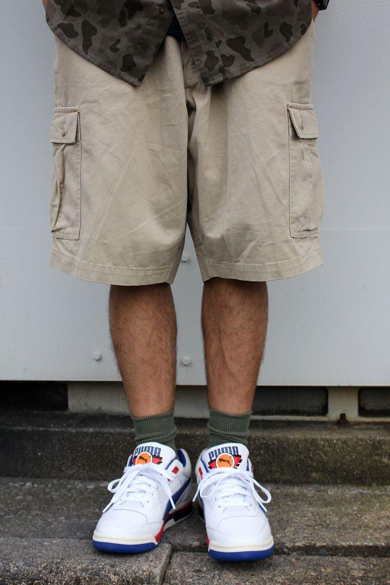 USED!!! STUSSY / CARGO SHORTS (90'S) / light beige