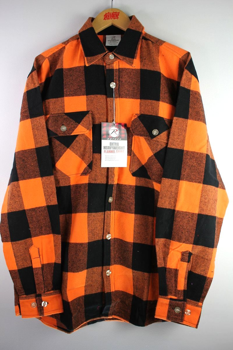 ROTHCO / EXTRA HEAVYWEIGHT FLANNEL SHIRTS / orange×black