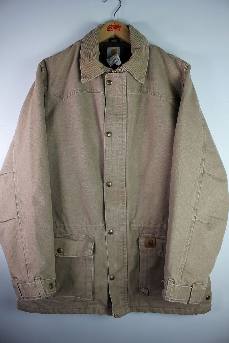 USED!!! CARHARTT / BLANKET LINED DUCK COAT (00'S) / washed beige