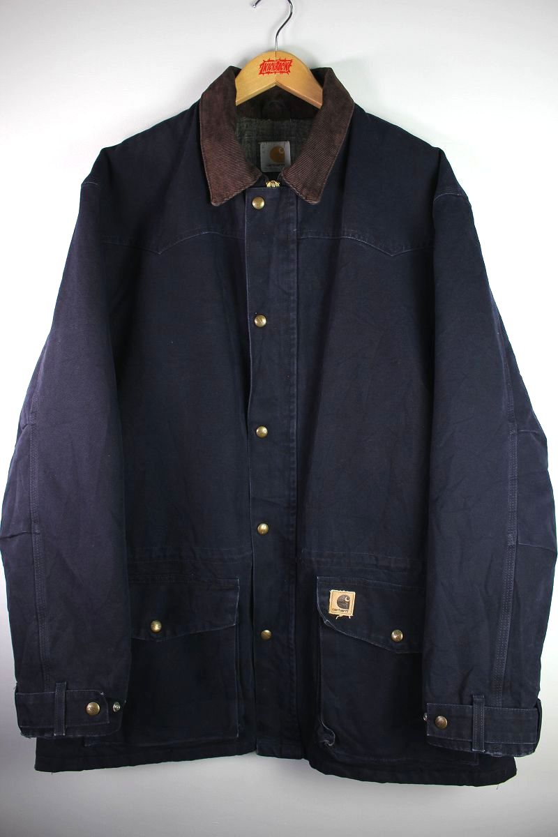 USED!!! CARHARTT / BLANKET LINED DUCK COAT (00'S) / washed navy