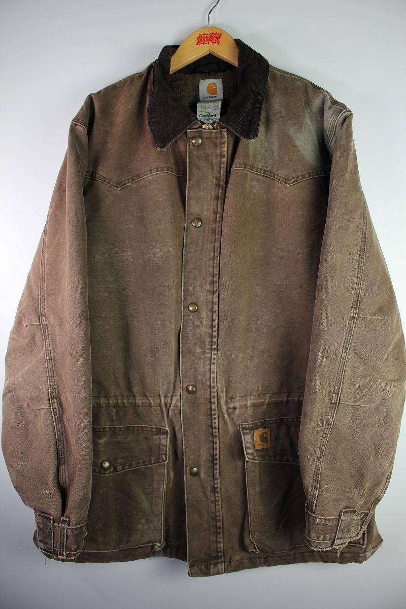 USED!!! CARHARTT / BLANKET LINED DUCK COAT (00'S) / washed brown