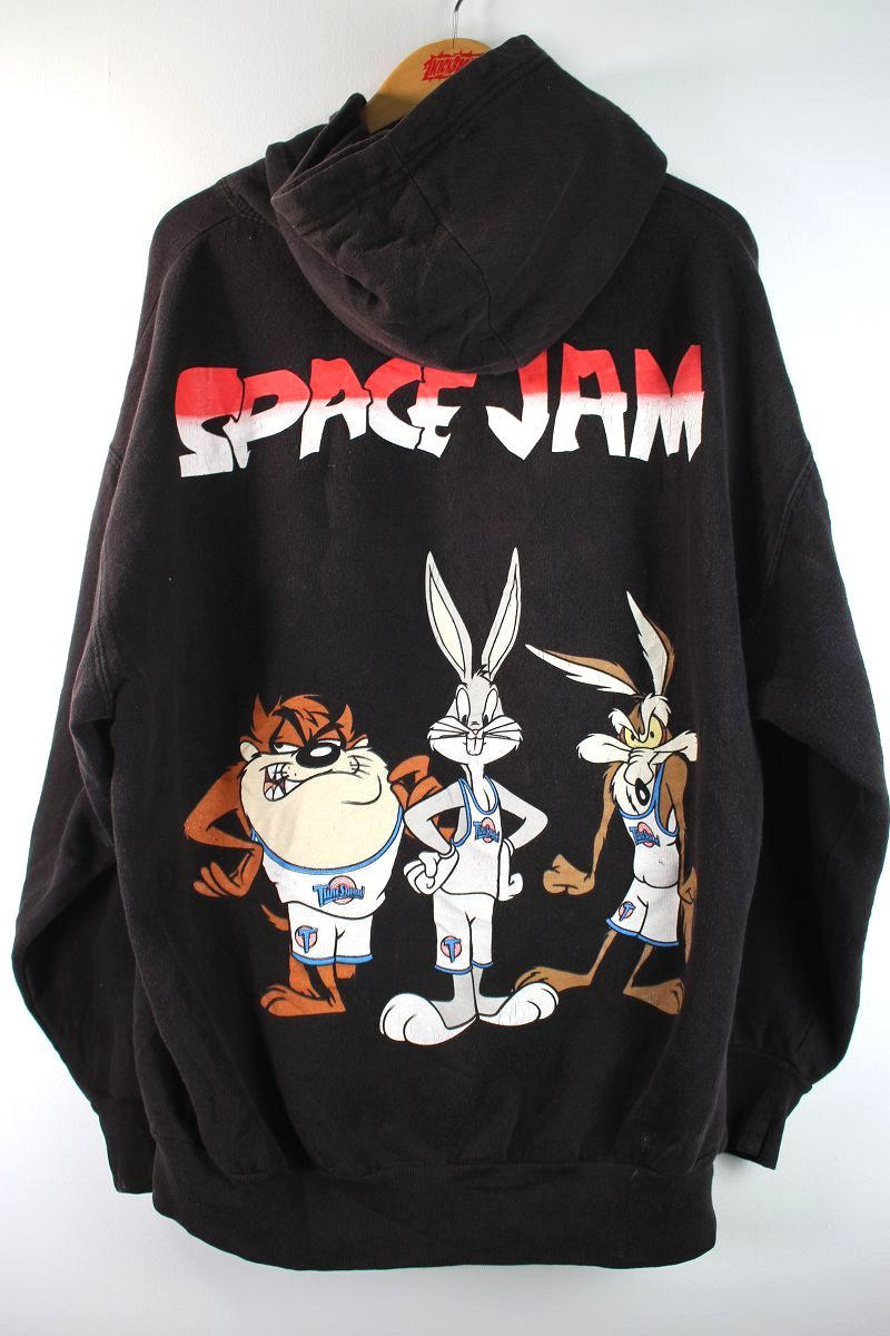 USED!!! SPACE JAM / PULLOVER SWEAT HOODIE (90'S) / washed black