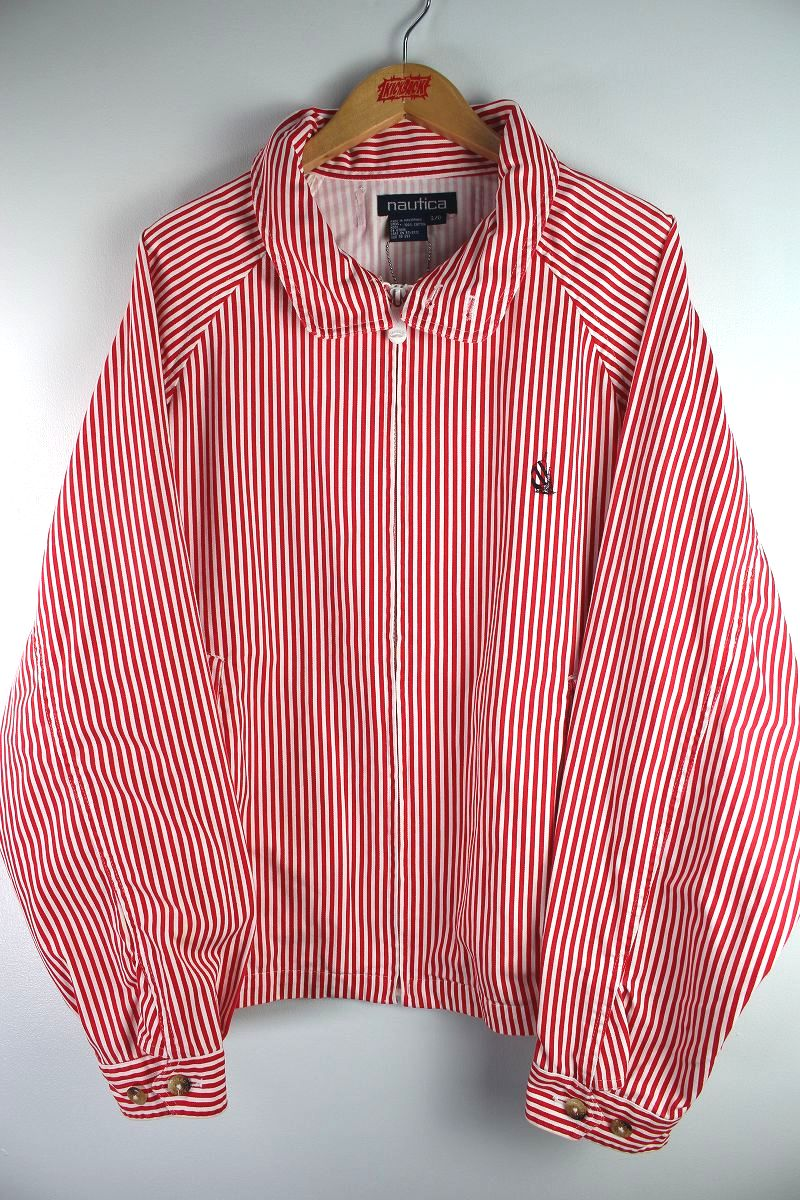 USED!!! NAUTICA / STRIPED SWING TOP (90'S) / red×white